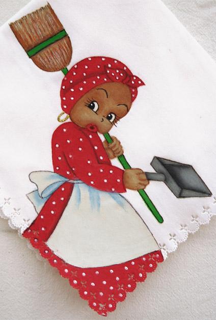 Toalla pintada Negrita con escoba y recogedor